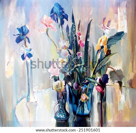 drawing oil, flowers, still life, painting, modern �  art