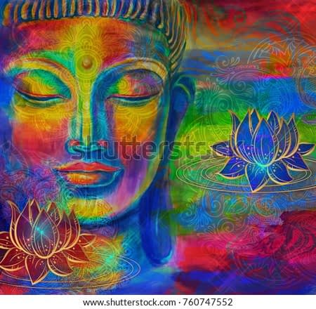 Head of Lord Buddha digital art collage combined with watercolor. An unusual painting hand drawn for the interior.