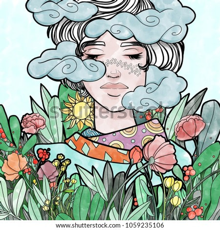 Head in the clouds. Woman with spring flowers