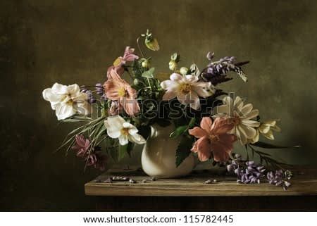 Still life with a beautiful bunch of flowers