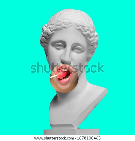 Collage with plaster head model, statue and female portrait isolated on turquoise background. Negative space to insert your text. Modern design. Contemporary colorful and conceptual bright art collage