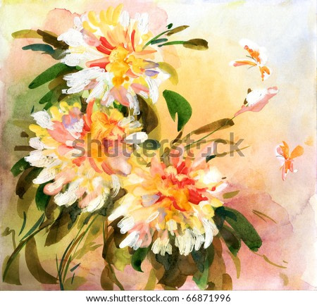 Painting of bright flowers with bright butterflies flying above