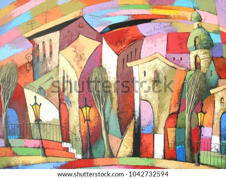 Fairytale town #5.  Photo of acrylic painting on canvas, my own artwork.