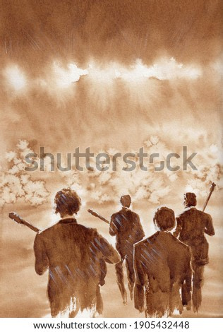 Popular music group on stage in the beams of music stands in front of a stylized fans crowd. Hand made beautiful coffee art painting on paper texture