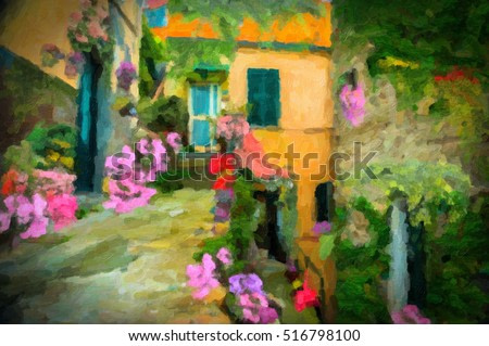Italian yellow brick home with flower garden, digital oil painting effect