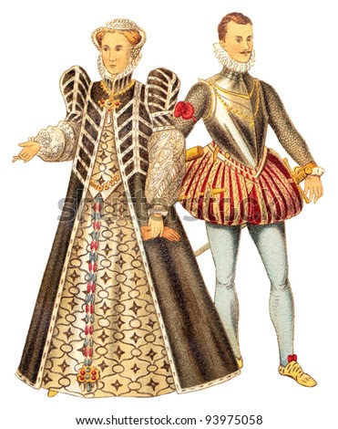 Catherine de Medici queen of France and John of Austria (Renaissance) / vintage illustration from Meyers Konversations-Lexikon 1897
