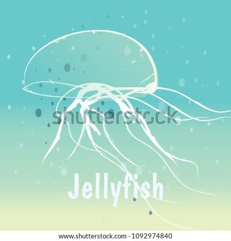 Seascape with jellyfish. Jellyfish in the ocean, marine life. Summer Pattern