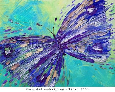 Butterfly in the sky Art Illustration Oil painting Blue Violet Pattern texture background abstract wings