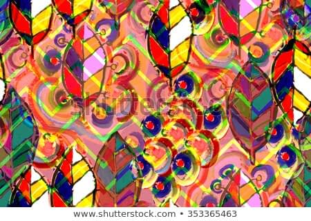 Leaves abstract pattern seamless with modern art idea. Red artistic watercolor painting handmade modern art. Excellent artwork design. Colorful leaf pattern on a zigzag ornament. Ethnic pattern.