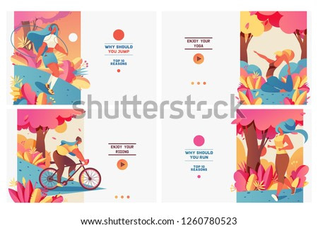 Set of pastel bright banners with sport girls in gradient flat style. Healthy and wellness lifestyle. Young people doing yoga, jogging, jumping with rope and riding bycicle. Design good for web