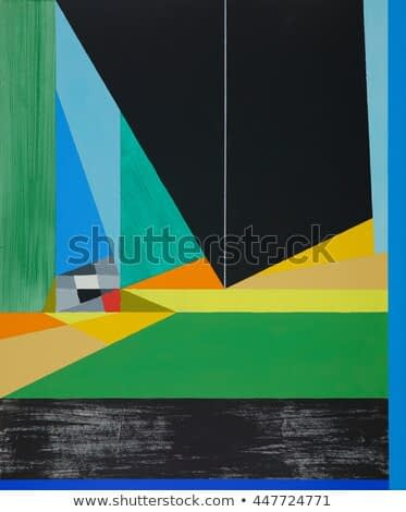 A hard-edged geometric abstract painting, suggestive of a marine theme.