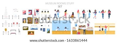Museum interior, exhibition and visitor set. People in the museum. Modern artwork exhibit. Painting, sculpture, souvenir. Vector illustration in cartoon style