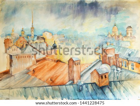 St. Petersburg Watercolor. View of the city from the roof. Peter and Paul Fortress and St. Isaac's Cathedral, recognizable atmosphere of St. Petersburg. Thundercloud. Bursts, streaks, stains.