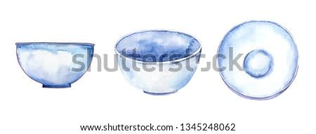 Set of white bowls, watercolor illustration