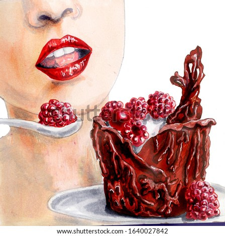 Watercolor illustration of a half-open female mouth. At the mouth there is a spoon with raspberries and a chocolate dessert. Hand drawn lips and dessert isolated on white