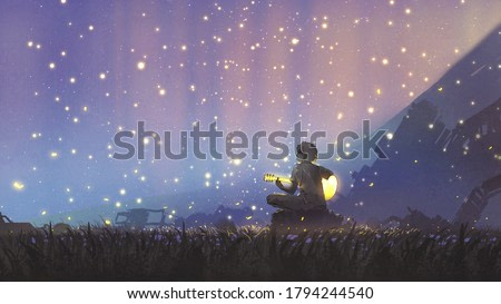 a young boy plays guitar in the meadow and looking at the beautiful sky, digital art style, illustration painting