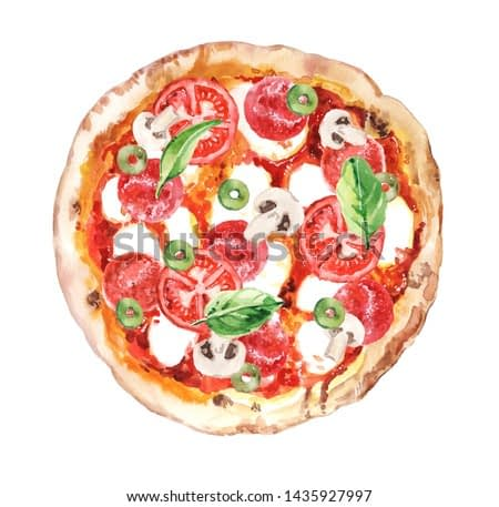 Watercolor hand drawn pizza with salami, mozzarella and tomatoes  illustration isolated on white background