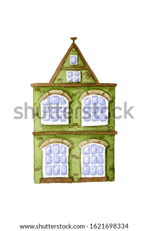 Watercolor hand drawn Amsterdam town house with a triangular roof, large panoramic windows with green stucco walls isolated on white background