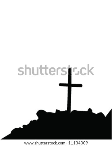 Grave with a cross on a hill
