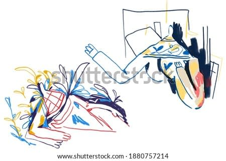 Line art and Colorful abstract people, expressionism and Keith Haring art style. Two people seeing each other. Painting Drawing with color line and isolated on white, for print and wall art.