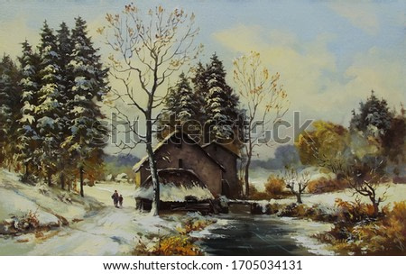 old water mill near a frozen river and snow-covered trees,oil painting, fine art, mill, rural landscape, winter, snow, trees, nature