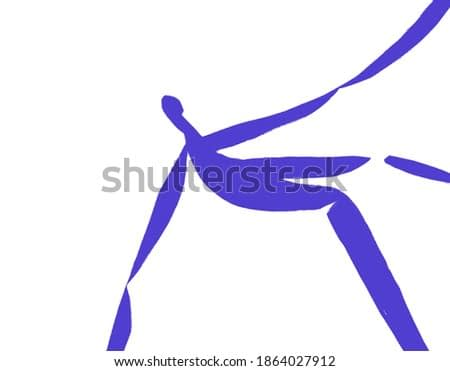 Someone Fall. Henri Matisse Vibe. Abstract blue silhouette painting isolated on white. Stencil Art for print and poster