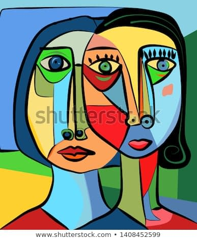 Colorful abstract background, cubism art style, double portrait