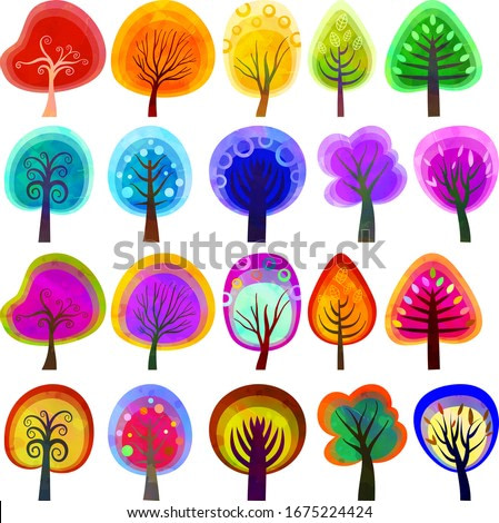A collection of artistic slightly abstract trees with watercolor overlay effect.