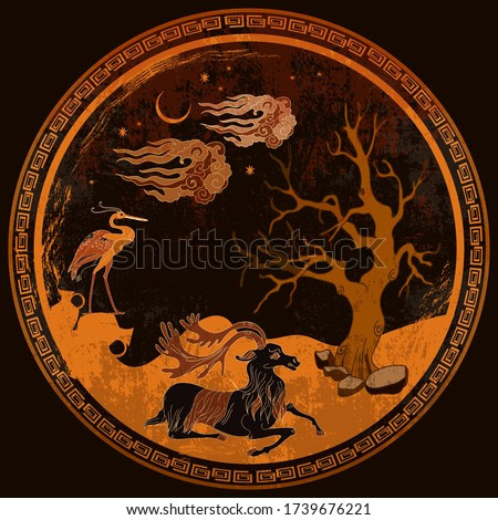 Greek vase painting concept. Deer and old tree. Meander circle style. Red figure techniques. Ancient Greece art. Mythology and legends