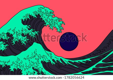 Great Wave in Vaporwave Pop Art style. View on ocean's crest leap toward the sky. Stylized vector line art  illustration of 19th century Japanese print.