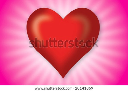 red heart in pink background