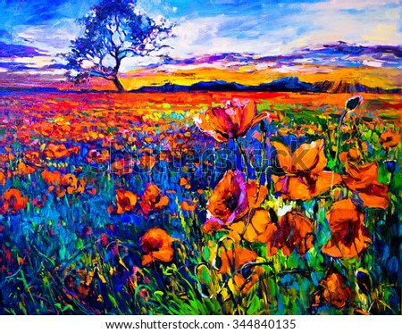 Original oil painting of poppy field in front of beautiful sunset on canvas. Modern Impressionism
