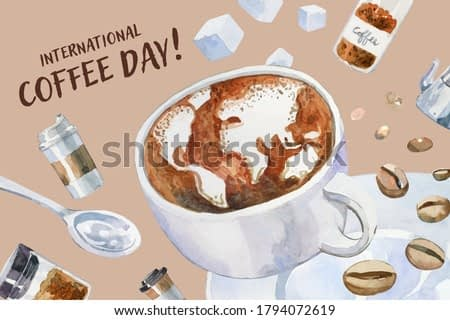 "Hand drawn watercolor coffee cup with Latte art, world map shape. With Arabica beans, spoon, sugar cubes, coffee dish and ""International Coffee Day"" text around."