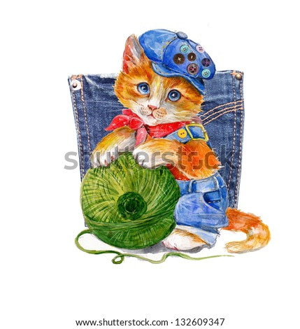 watercolor illustration of a funny kitten with green ball