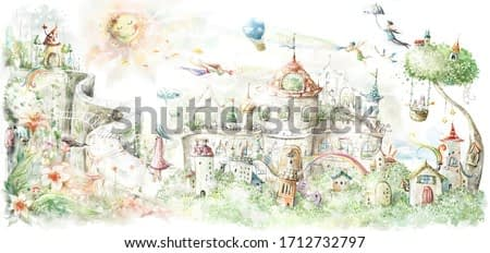 a fairy tale, a small town with cute paths and a big magic tree