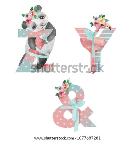 Cute watercolor alphabet with adorable baby animals panda, flamingo with flower wreaths and tied bows. Letters Z, Y, & - hand drawn uppercase characters