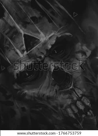 Digital black and white painting of zombie skeleton king with crown - digital fantasy painting