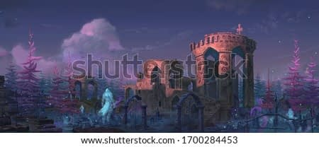 An illustration of the medieval fantasy abandoned fort in graveyard with the  knights spirit.