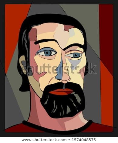 Colorful background, cubism art style,abstract portrait, man with a black beard