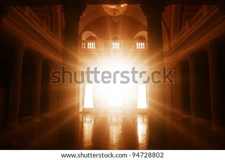 ancient palace interior with a bright light ahead