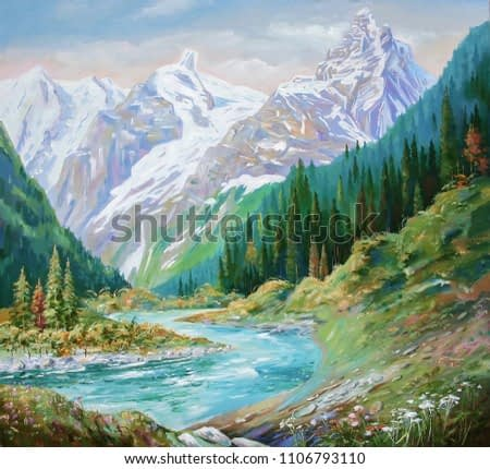 The Teberda River in the Gorge of the Caucasus Mountains. Painting: canvas, oil. Author: Nikolay Sivenkov