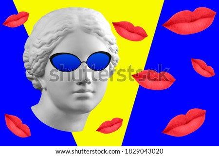 Contemporary art concept collage with antique statue head in a surreal style. Modern unusual art.