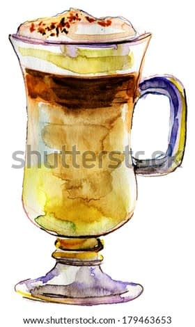 Cup of Coffee Latte. Watercolor illustration