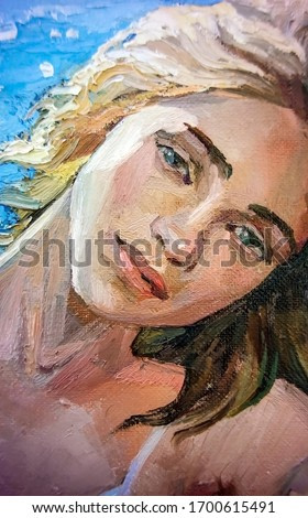 Dreamy blonde girl with blue eyes  on a bright sunny day, the sea on the background. Oil painting on canvas.