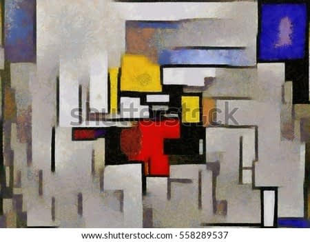 Primitive cubism. The minimalist story in vivid colours. Modern pop art Made in oil on canvas in the style of Piet Mondrian. Suitable for the concept of interior design or wall poster.