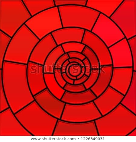 abstract vector stained-glass mosaic background - red spirals