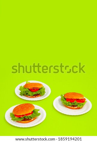 Fast food burger on green background.  Junk food Creative concept isometric minimal style
