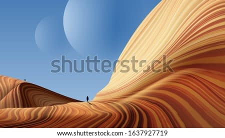 A vector illustration of an antelope art. Travelers are walking on an alien planet that its geology similar to the antelope canyon.