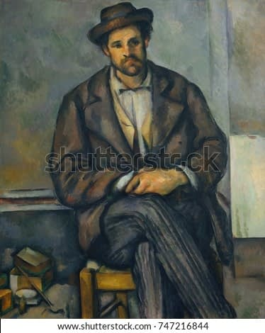 Seated Peasant, by Paul Cezanne, 1892-96, French Post-Impressionist painting, oil on canvas. The sitter is believed to be one of the workers at the Jas de Bouffan, the Cezanne family estate in Aix-en-