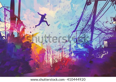 man jumping on the roof in city with abstract grunge,illustration painting